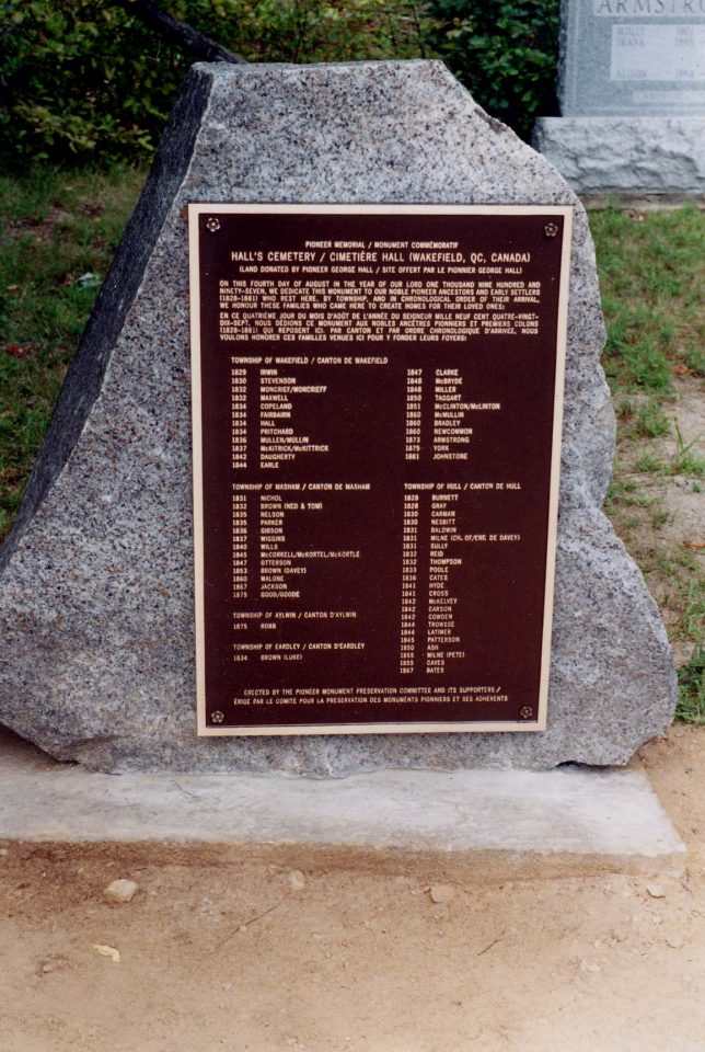 Plaque installed by the Memorial Committee in Hall Cemetery